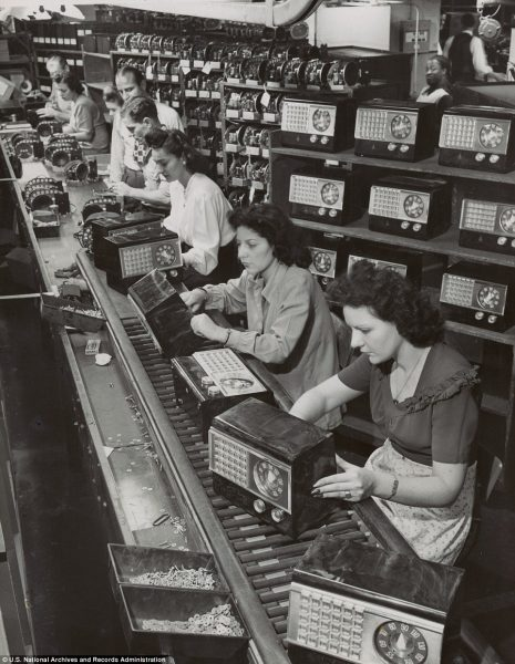 Assembly line workers